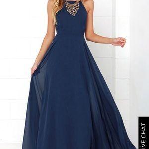 Mystical kind of love navy blue maxi dress
